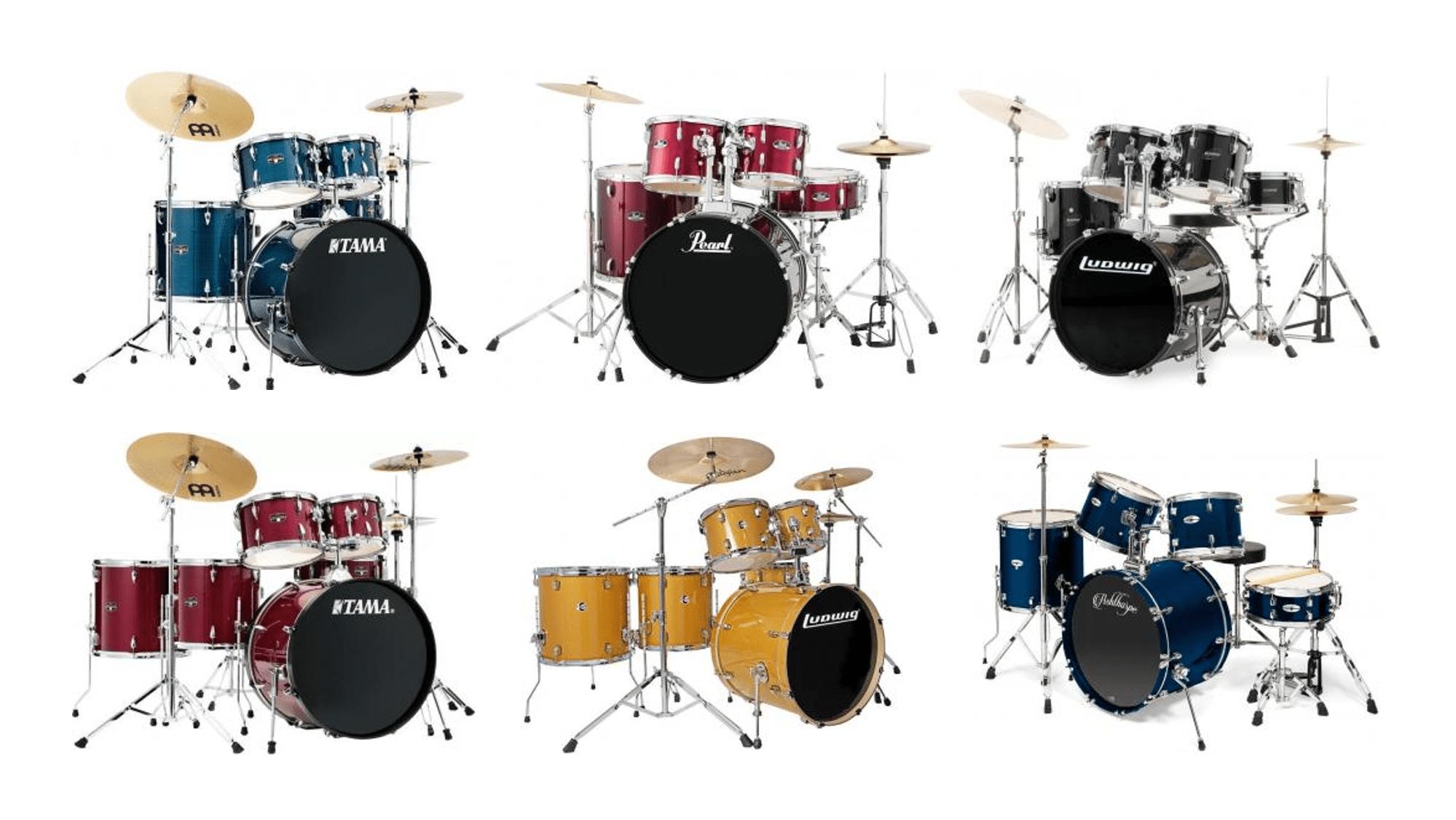Baterias acústicas baratas completas con herrajes y platillos ideales para bateristas principiantes e intermedios.